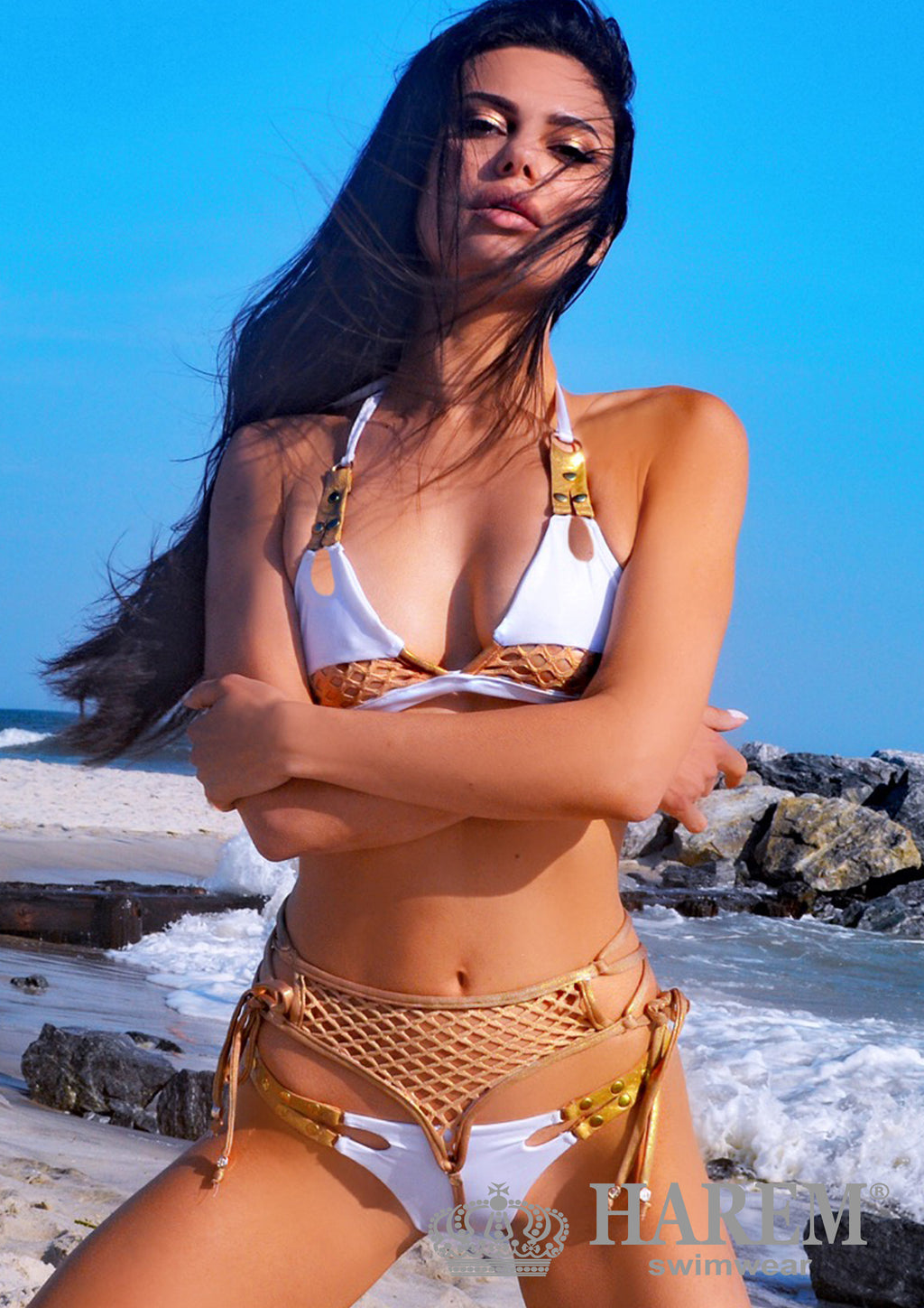 XENA BIKINI (white and gold)