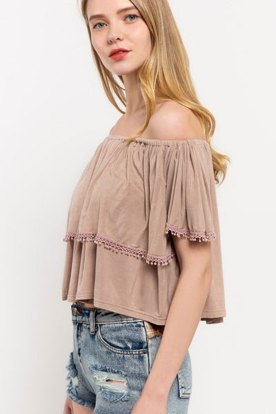 196   Kora Off-Shoulder Crop Top w/ Crochet Fringe