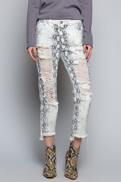 277   Zari White Snake Denim Jeans
