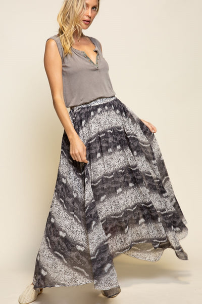 330   Johnna Leopard Flowy Skirt