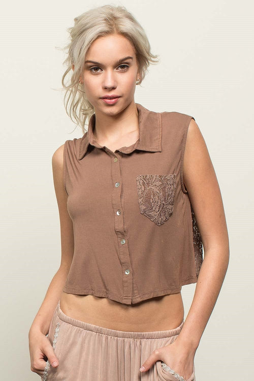 101   Gayla Collared Back Crochet Button Up Top