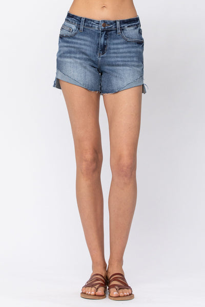 150019   Caren Mid-Rise Half-Cuffed Shorts by Judy Blue