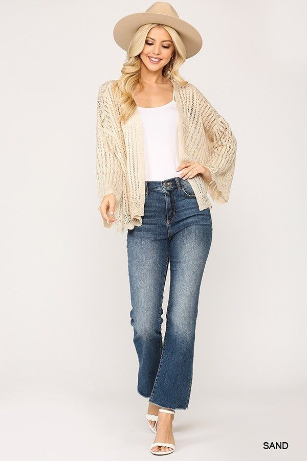 1597   Sora Lightweight Scallop Seethrough Sweater Cardigan with Open Front