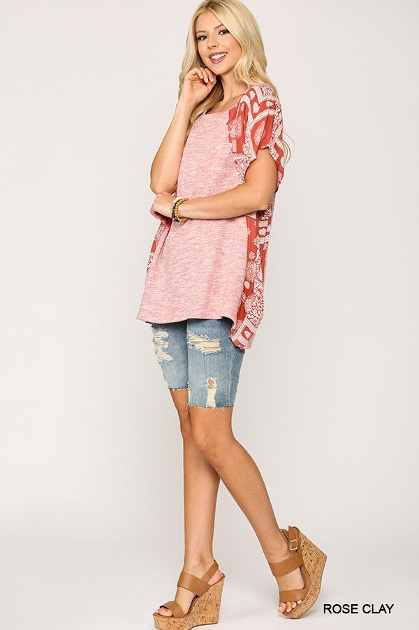 1309   Iris Solid Tunic Knit Top with Contrasting Print Dolman Sleeves