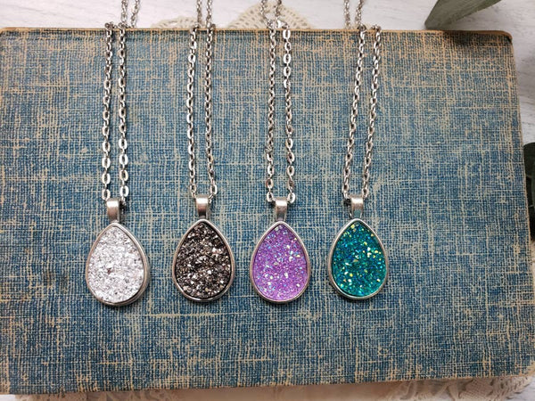 365   Oakley Teardrop Druzy Necklace