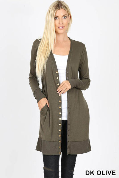 2059   Michelle Thigh-Length Snap Button Sweater Cardigan