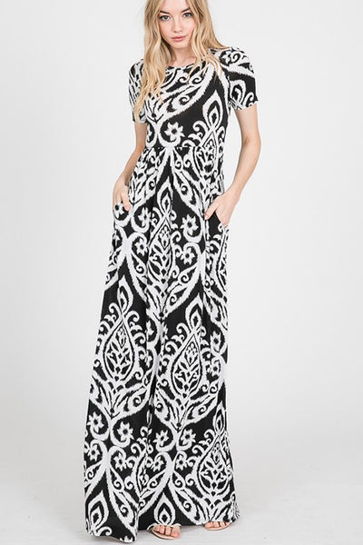 10206   Audrey Black & White Damask Dress