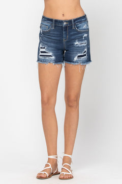 15205   Clarice Mid-Rise Patch Cut Off Shorts by Judy Blue Jeans