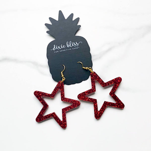 1455   Retro Stars in Ruby Earrings by Dixie Bliss