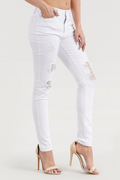 84133   Judy Blue White Lace Patch Skinny