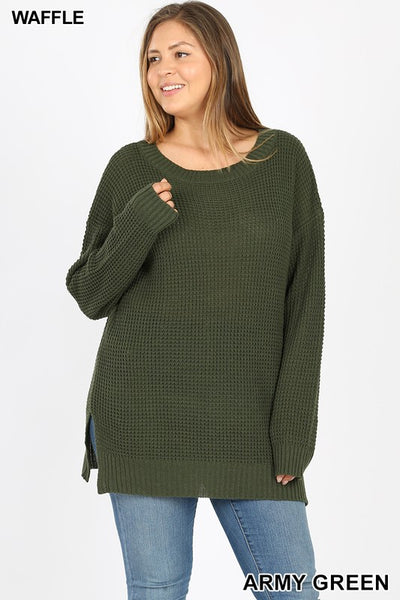 1935   Shelby Crew Neck Waffle Knit Sweater