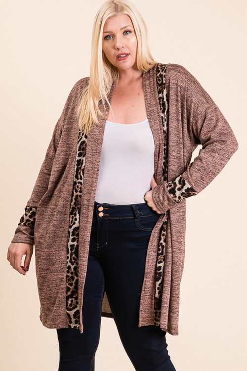 5185   Lorna Leopard Trim Cardigan Sweater