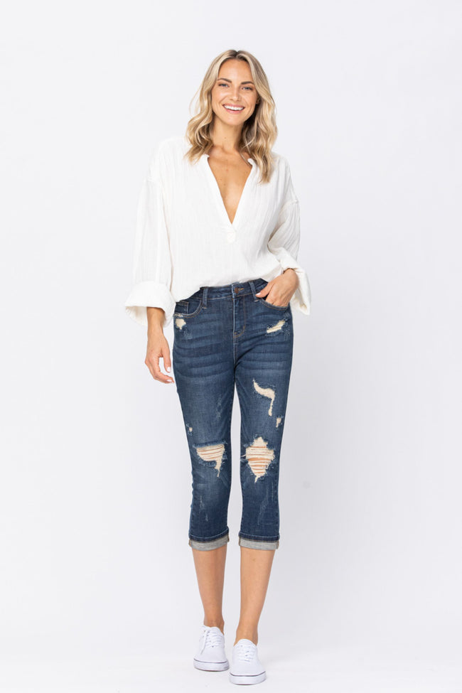 88211   Chevelle Hi-Rise Cuffed Distressed Judy Blue Capri Jeans