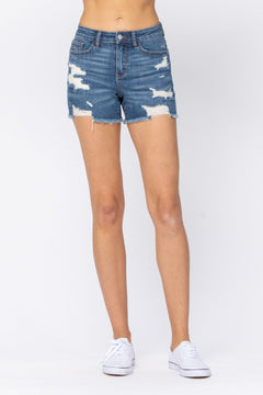 150054   Mitsy Destroyed Cut-Off Shorts by Judy Blue Jeans