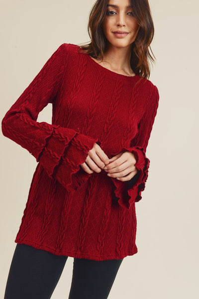 8175   Eleanor Cable-Knit Sweater Top