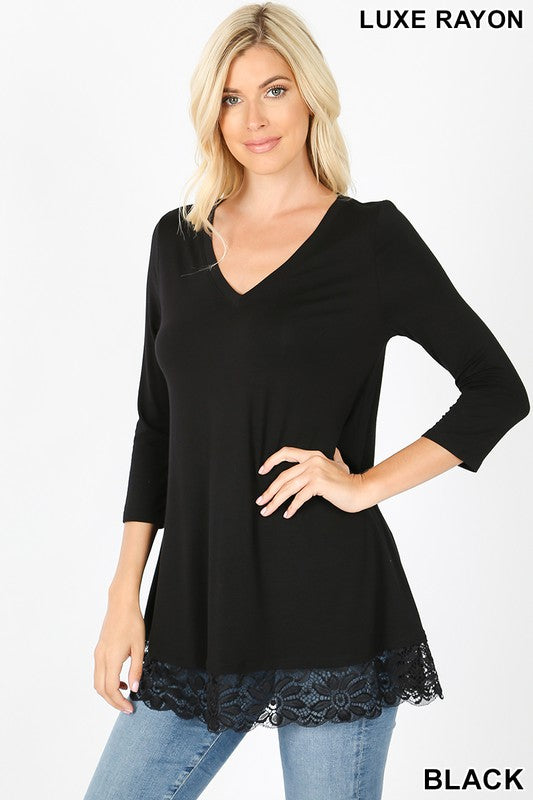 5640   Portia 3/4 Sleeve V-Neck Lace Tunic