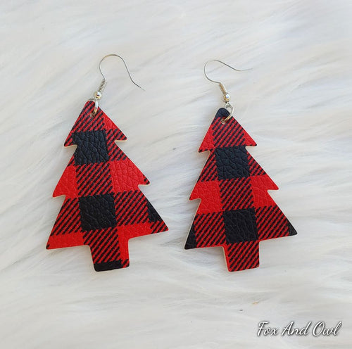20335   Buffy Plaid Christmas Tree Earrings