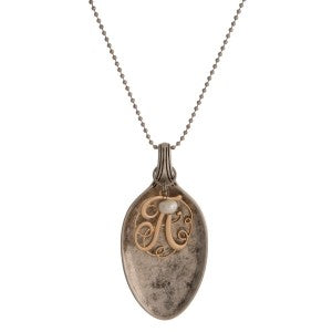 129225   Silver Necklace w/ Spoon & Initial Charm