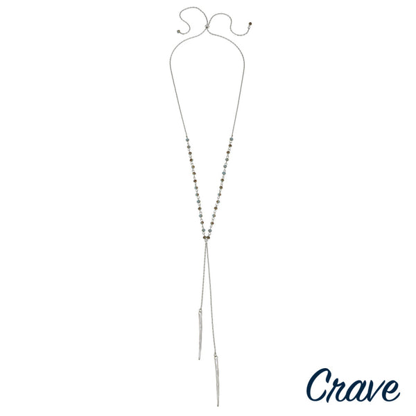 137519   Long metal beaded necklace with spike pendant