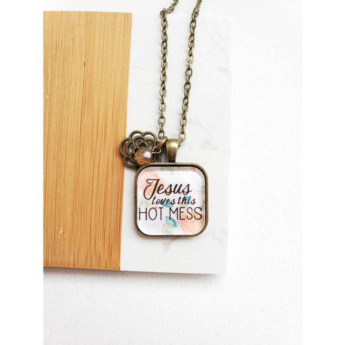 "342   Josephine ""Jesus Loves this Hot Mess"" Necklace - 30"" Chain"