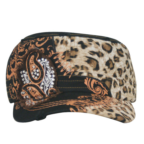 1595   Way West Leopard & Crystal Hat