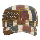 1680   WAY WEST CANVAS CADET CAP WITH DISTRESSED FLAG PATTERN AND VELCRO BACK