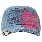 1687   Way West Denim Floral Hat
