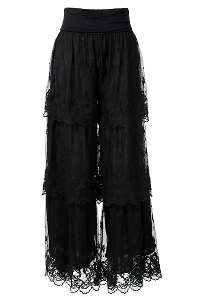 258   Black Layered Lace Pants
