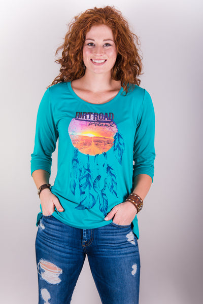 182010072   CatchFly Indy Turquoise Top