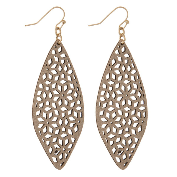 221467   Faux Leather Lattice Earrings