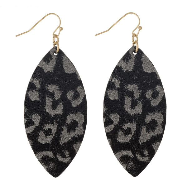 22258X   Faux Leather Leopard Print Earrings