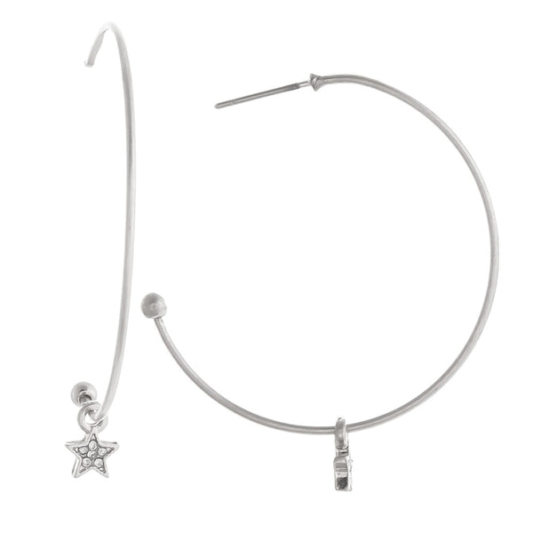 224202   Hoop Earrings w/ Star Charm