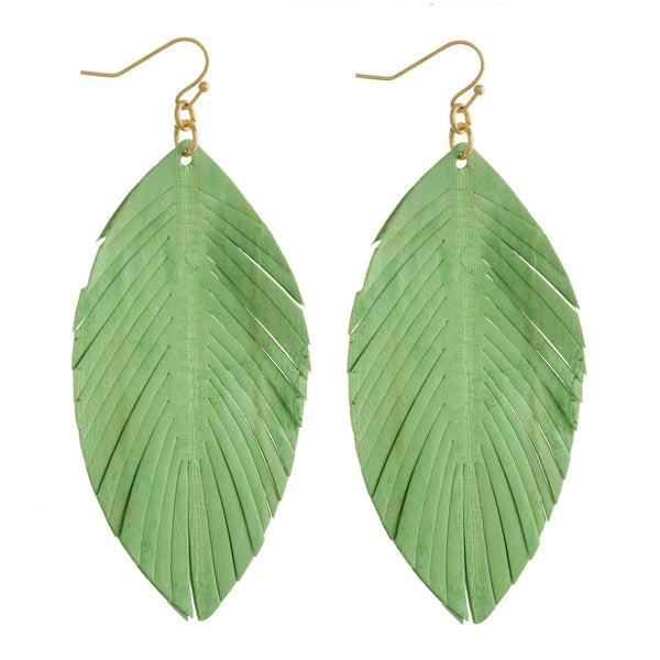 224500   Genuine Leather Leaf Earrings