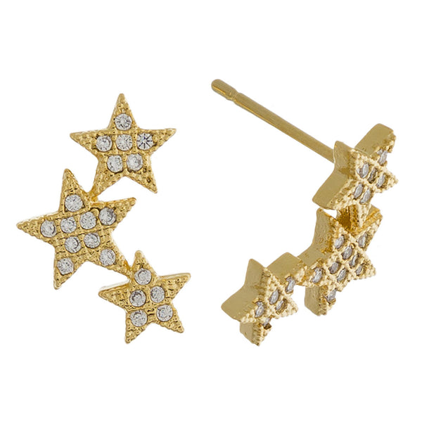 2272XX   Triple Star Earrings