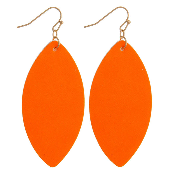 228735   Neon Faux Leather Earrings