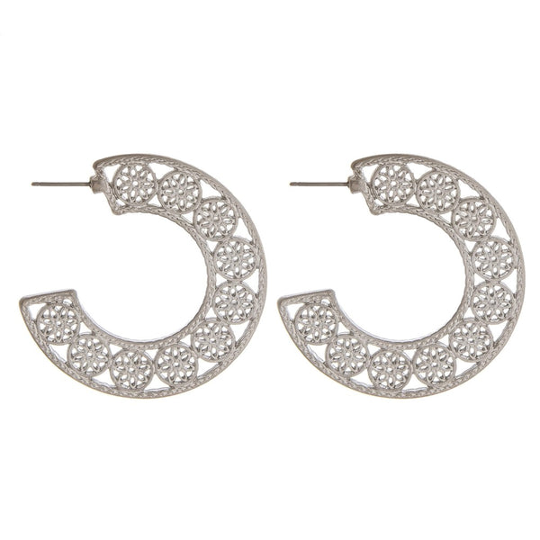 234396   Charity Metal flower filigree open hoop earrings