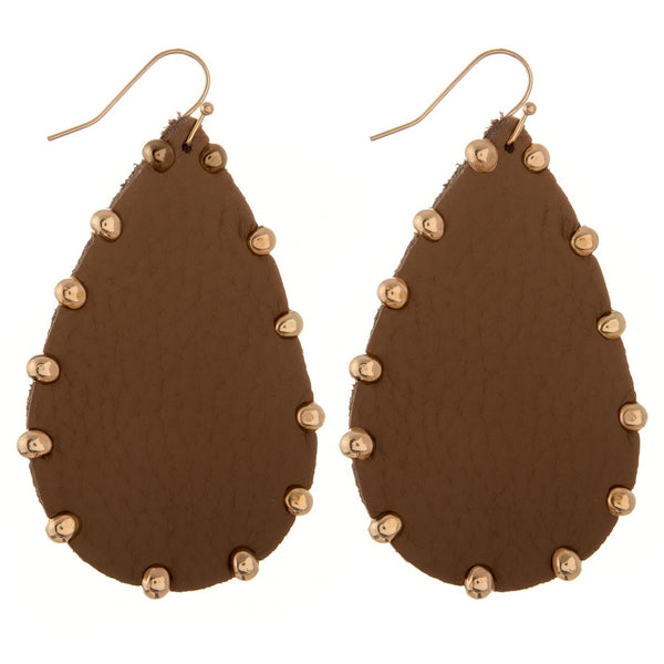 235874  Faux leather Gold bead trim teardrop earrings