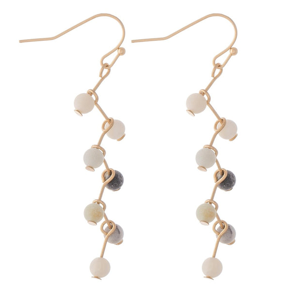 237723  Natural stone geometric drop earrings