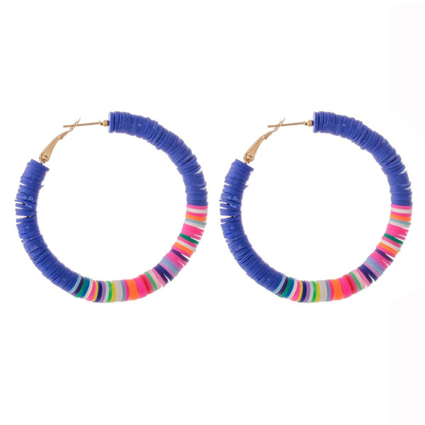 237768   Stacy Polymer Clay spacer disc beaded statement hoop earrings