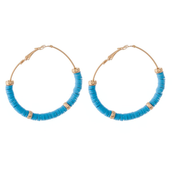 237771  Polymer Clay spacer disc beaded statement hoop earring with gold accents