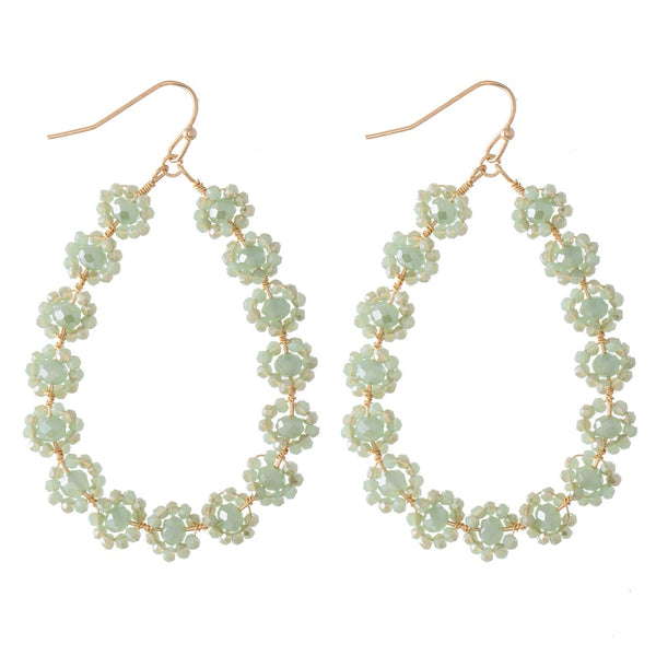 237134   Beaded Flower Teardrop Earrings