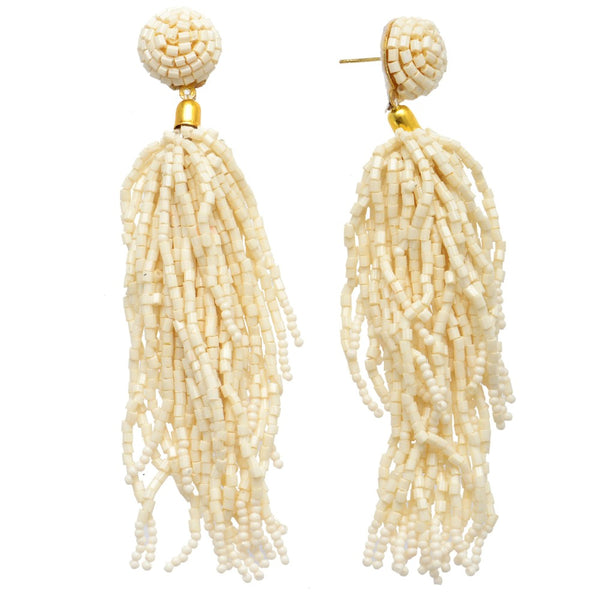 241182   Seed Beaded Tassel Statement Drop Earrings