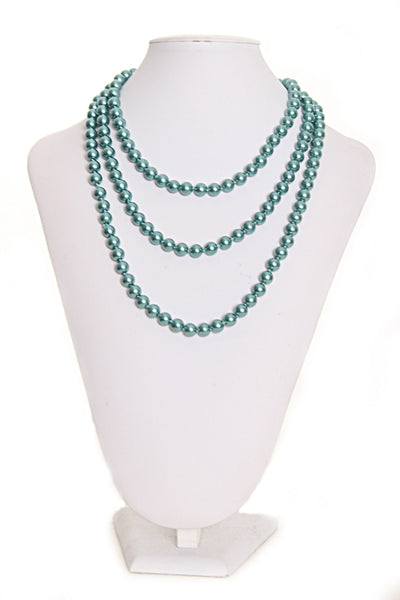 SB-170   Turquoise Faux Pearl Necklace