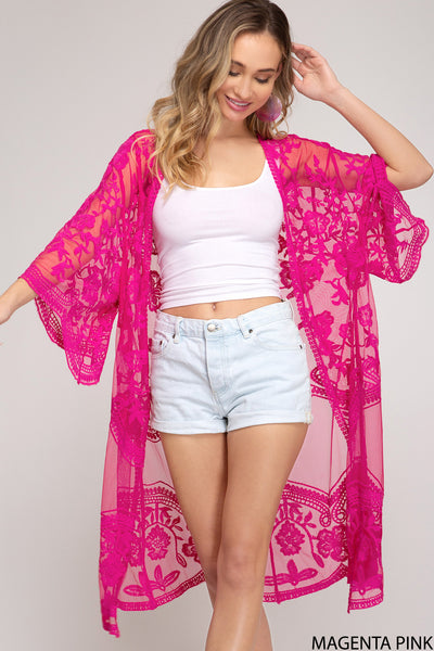 4261   Mabel Kimono Sleeve Crochet Lace Open Front Cardigan