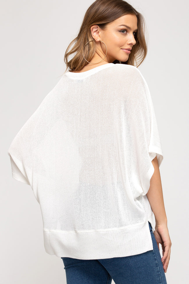 6674   Ashley Drop Shoulder V-Neck Top