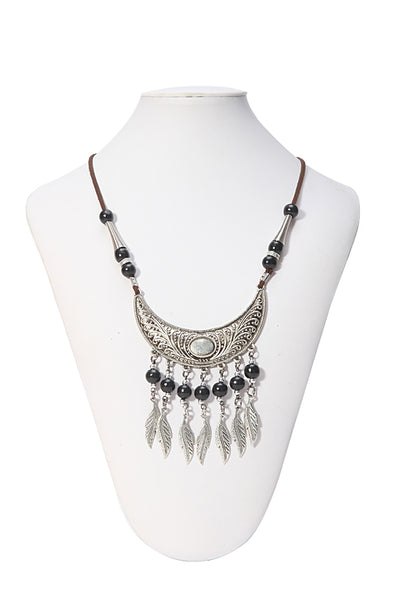 SB-189   Feather Design Necklace w/ Black Beads