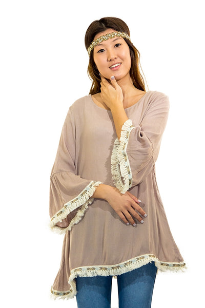 SB-317   3/4 Sleeve Tunic w/ Fringe Trim