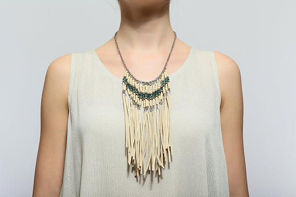 202   Faux Leather Fringe Necklace