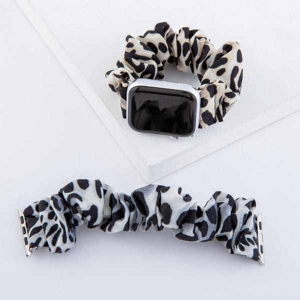426478   Leopard Print Scrunchie Smart Watch Band