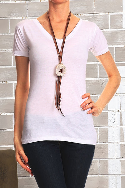 SB-119   Leather Strap necklace w/ Stone Pendant